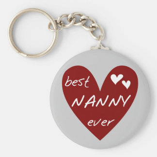 Red Heart Best Nanny Ever T-shirts and Gifts Basic Round Button Key Ring