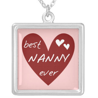 Red Heart Best Nanny Ever T-shirts and Gifts Silver Plated Necklace