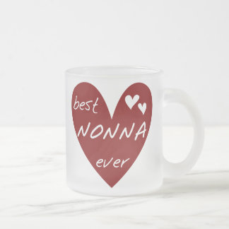 Red Heart Best Nonna Ever T-shirts gifts Frosted Glass Mug