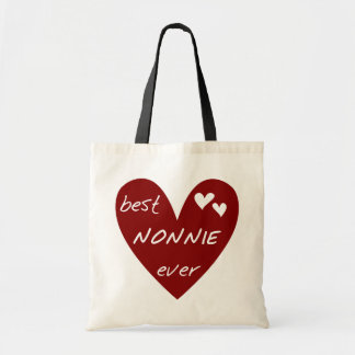 Red Heart Best Nonnie Ever T-shirts and Gifts Budget Tote Bag