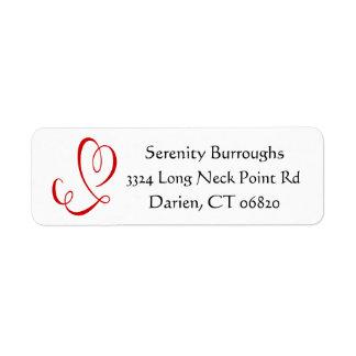 Red Heart Black and White Love Return Address Return Address Label