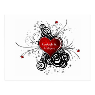 Red Heart Black Swirls Save The Date Postcard
