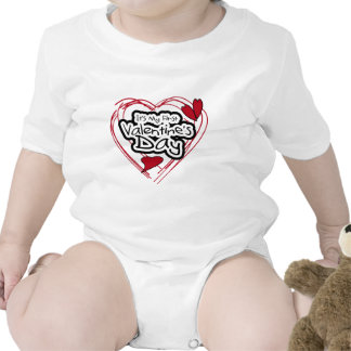 Red Heart Black Text First Valentines Day Baby Creeper