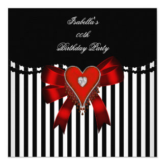 Red Heart Black White Stripe Bow Birthday Party 13 Cm X 13 Cm Square Invitation Card