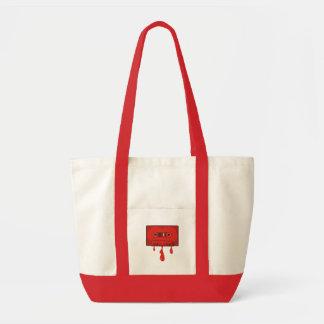 Red heart cassette impulse tote bag