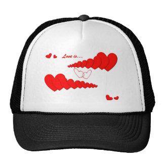 Red Heart Chain LOVE IS... Trucker Hat