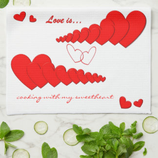 Red Heart Chain LOVE IS... Custom Kitchen Towels