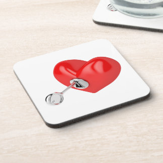Red heart beverage coaster