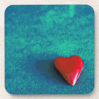 red heart drink coaster