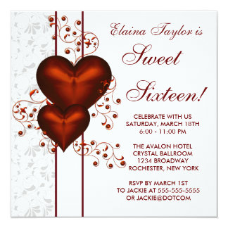 Red Heart Damask Sweet 16 Birthday Party 5.25x5.25 Square Paper Invitation Card