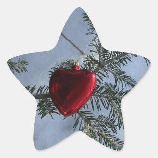 Red Heart Decoration on Pine Branch. Star Sticker