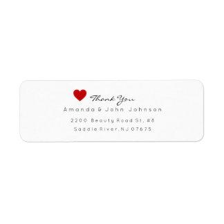 Red Heart Delciate Thank You Wedding Return Address Label