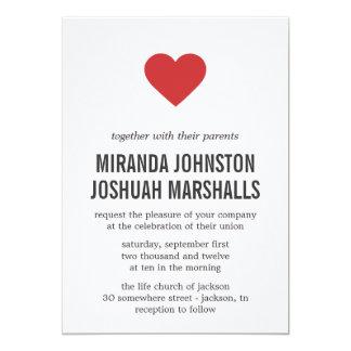 "Red Heart Design Wedding Invitations 5"" X 7"" Invitation Card"