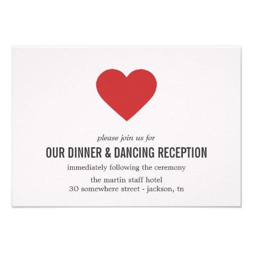 Red Heart Design Wedding Reception Cards Custom Invitations