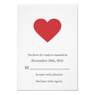 "Red Heart Design Wedding RSVP Cards Invites 3.5"" X 5"" Invitation Card"