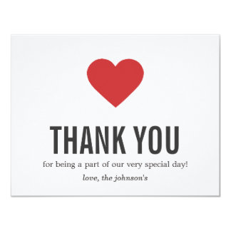 "Red Heart Design Wedding Thank You Cards 4.25"" X 5.5"" Invitation Card"