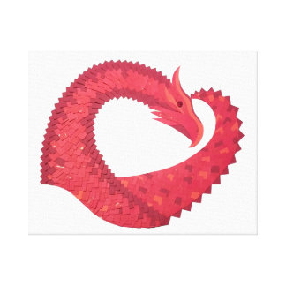 Red heart dragon on white canvas print