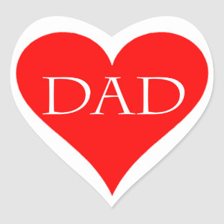 Red heart father's day gift heart sticker