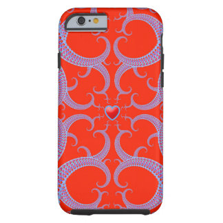 Red Heart Fractal Pattern Tough iPhone 6 Case