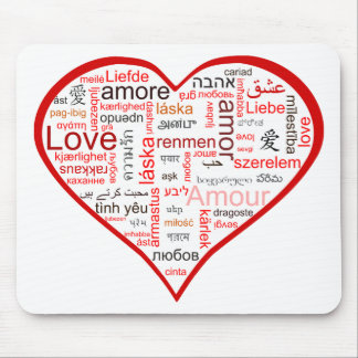 Red Heart full of Love in many languages Mouse Pad
