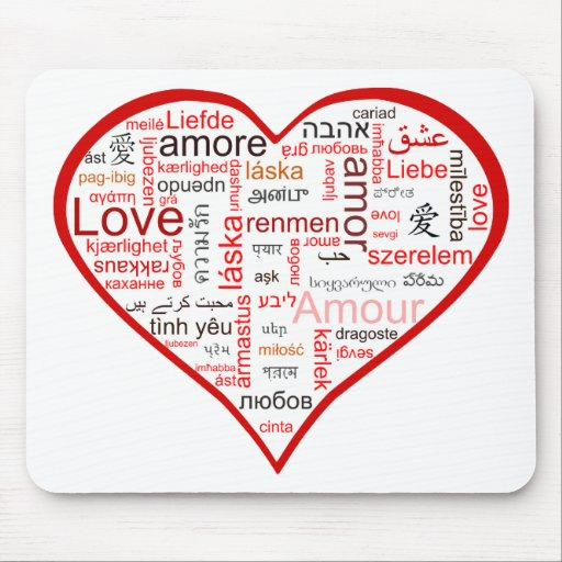 Red Heart full of Love in many languages Mousepads