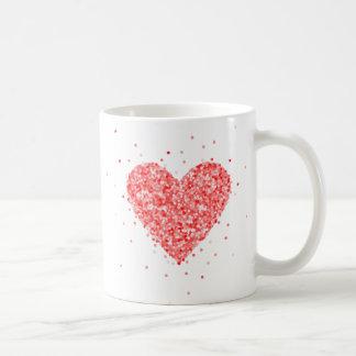 Red heart Glitter Texture Coffee Mug