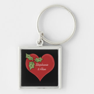 Red Heart & Green Holly Keychain