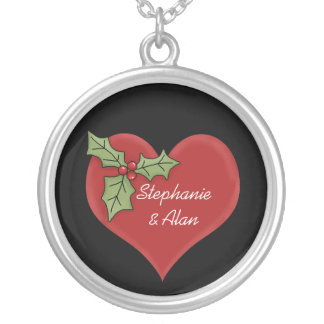 Red Heart & Green Holly Necklace