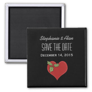 Red Heart & Green Holly Save The Date Magnet