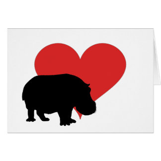 Red Heart Hippo Card