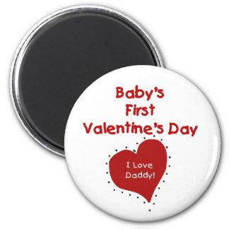 Red Heart I Love Daddy First Valentines Day 6 Cm Round Magnet