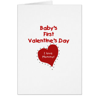 Red  Heart I Love Mummy First Valentines Day Card