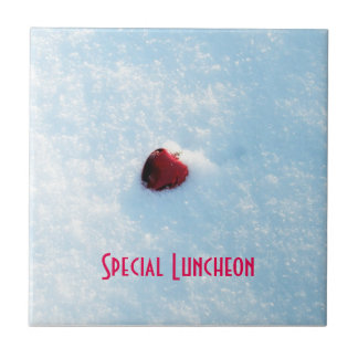 Red Heart in Snow Small Square Tile
