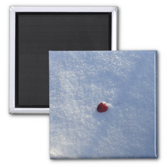 Red Heart in Snow Square Magnet