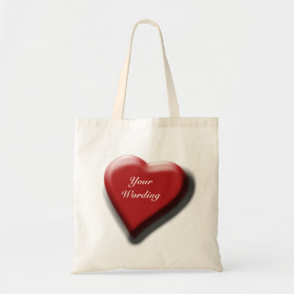 Red heart large elegant canvas bags