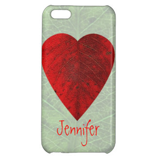 Red Heart Leaf Custom iPhone5 Case Cover For iPhone 5C