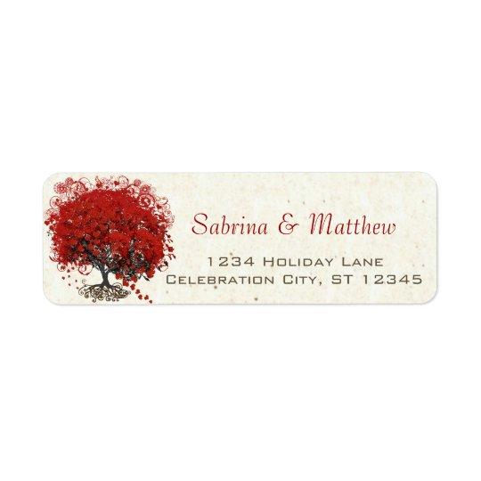 Red Heart Leaf Tree Wedding Return Address Label