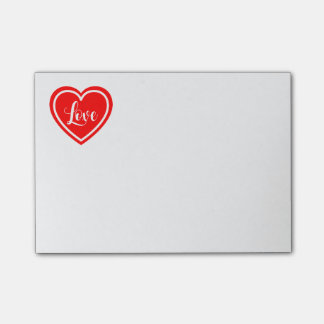 Red Heart Love Post It  - Wedding, Engaged, Bridal Post-it Notes