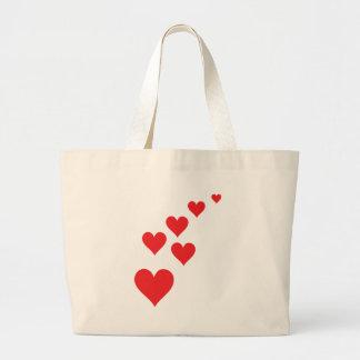Red Heart Love Rain - Valentine�s Day Tote Bags