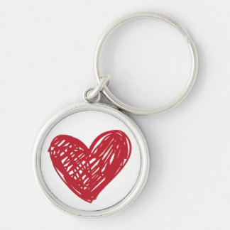 Red Heart Love Scribble - Wedding, Engagements Key Ring