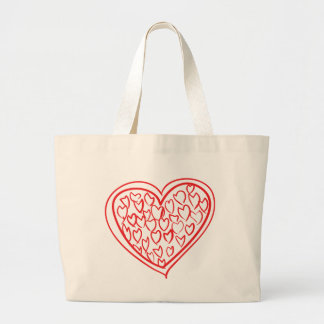 Red Heart Love Wedding,  Engagement, Bridal Shower Large Tote Bag