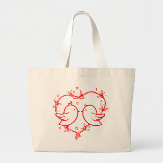 Red Heart Lovebirds - Wedding, Bridal Shower Large Tote Bag