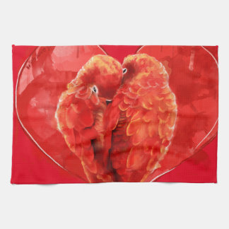 Red heart. Loving parrots. Hand Towels