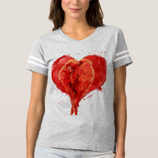 Red heart. Loving parrots. Tee Shirts