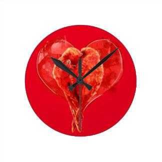 Red heart. Loving parrots. Wallclock