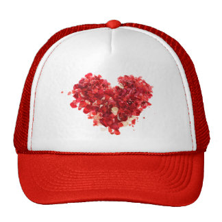 Red Heart made of rose petals Hats