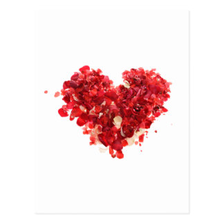 Red Heart made of rose petals Postcard