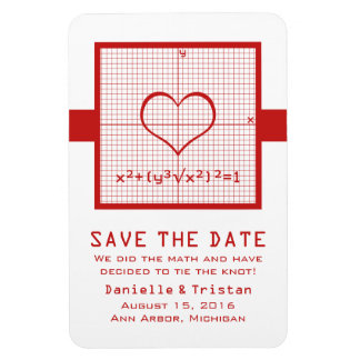 Red Heart Math Graph Save the Date Magnet