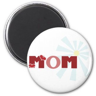 Red Heart Mom 6 Cm Round Magnet