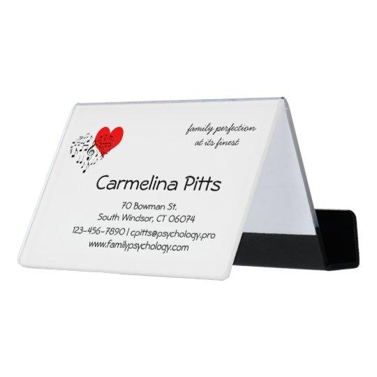 Red Heart Music Notes Family customisable Desk Business Card Holder